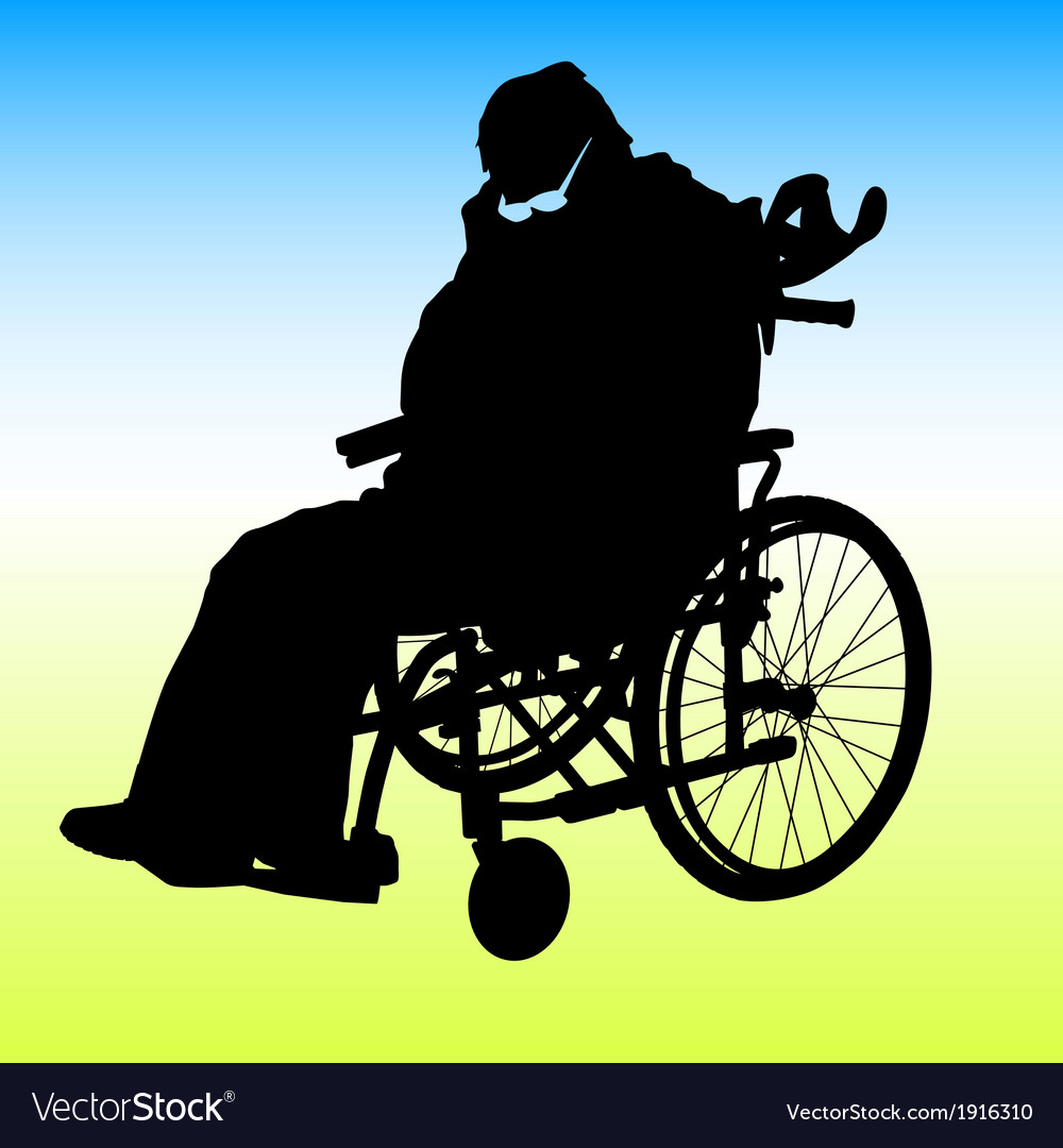 One handicapped man in wheelchair silhouette vector