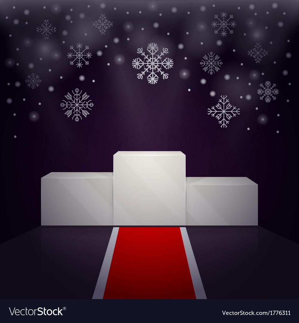 Sport winners pedestal winter theme vector