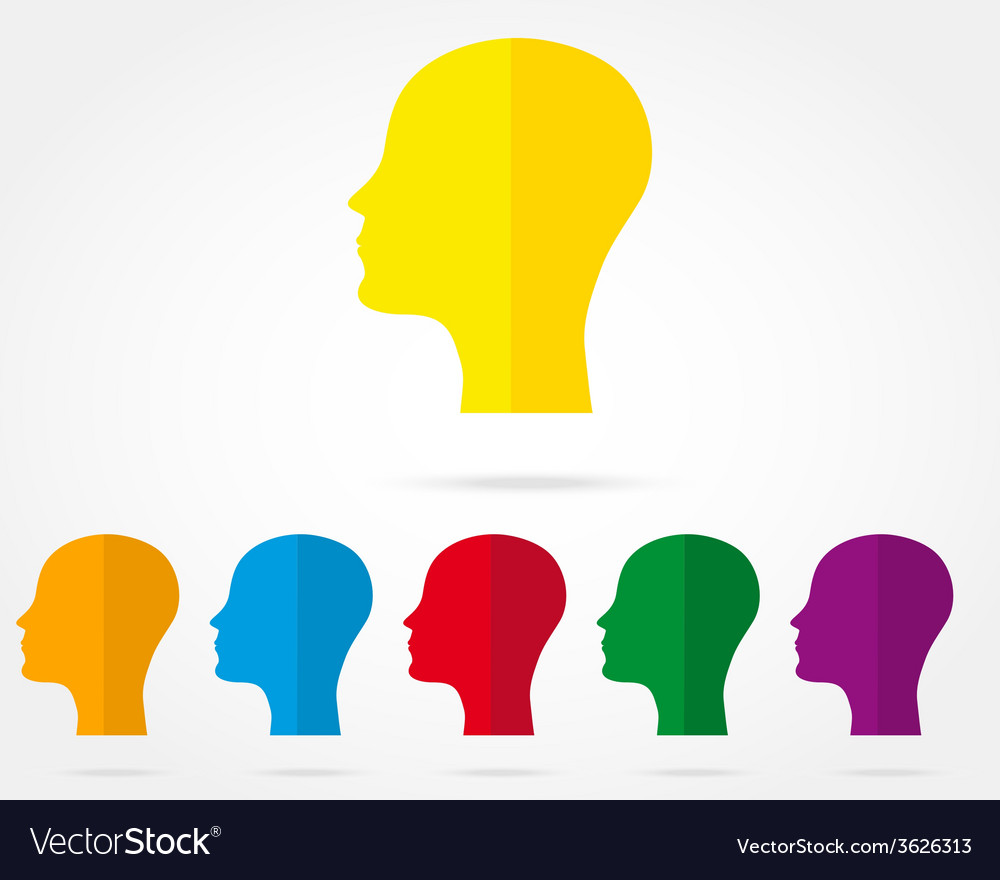 Set of icons of human head vector