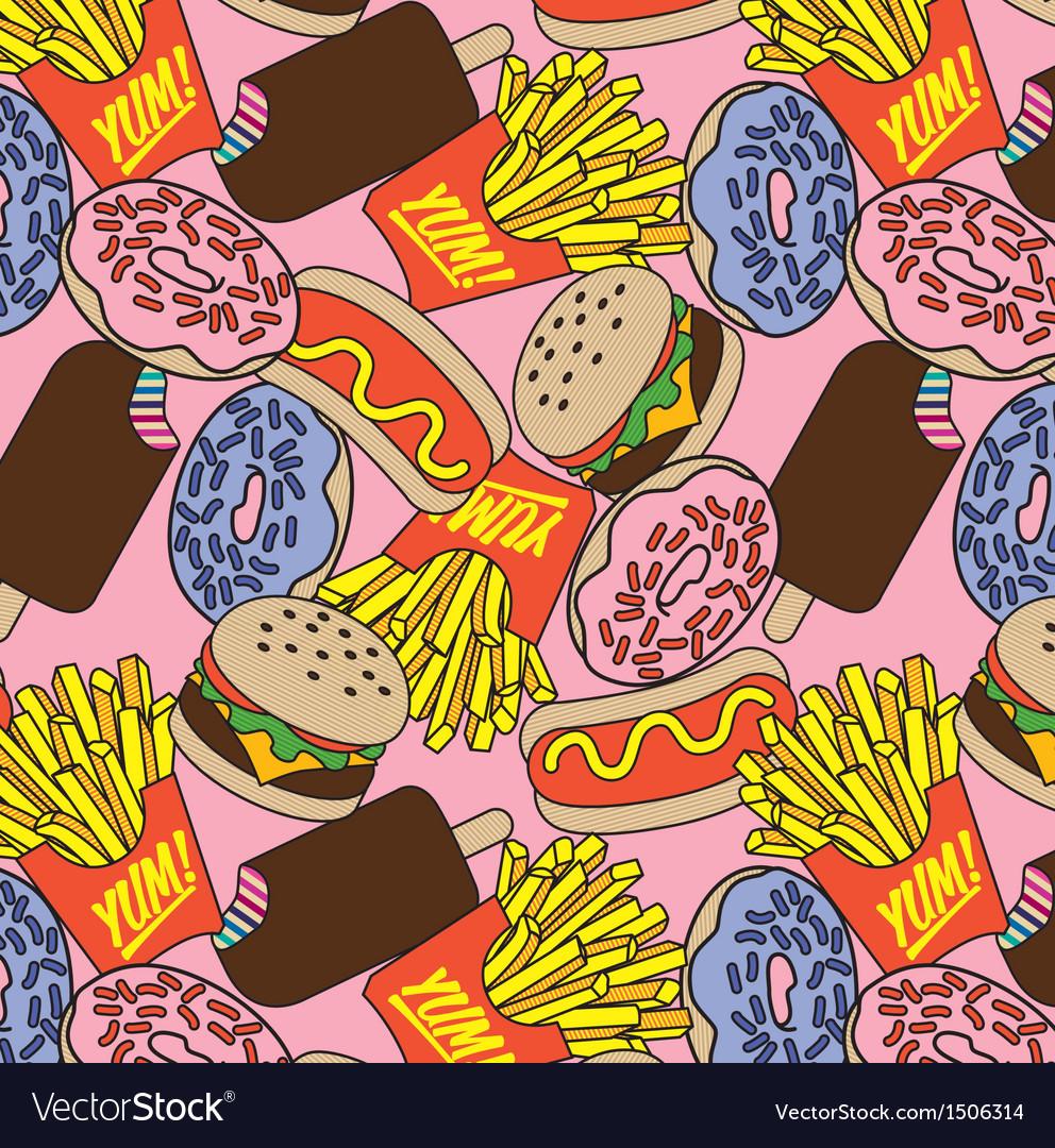 Junk food pattern vector