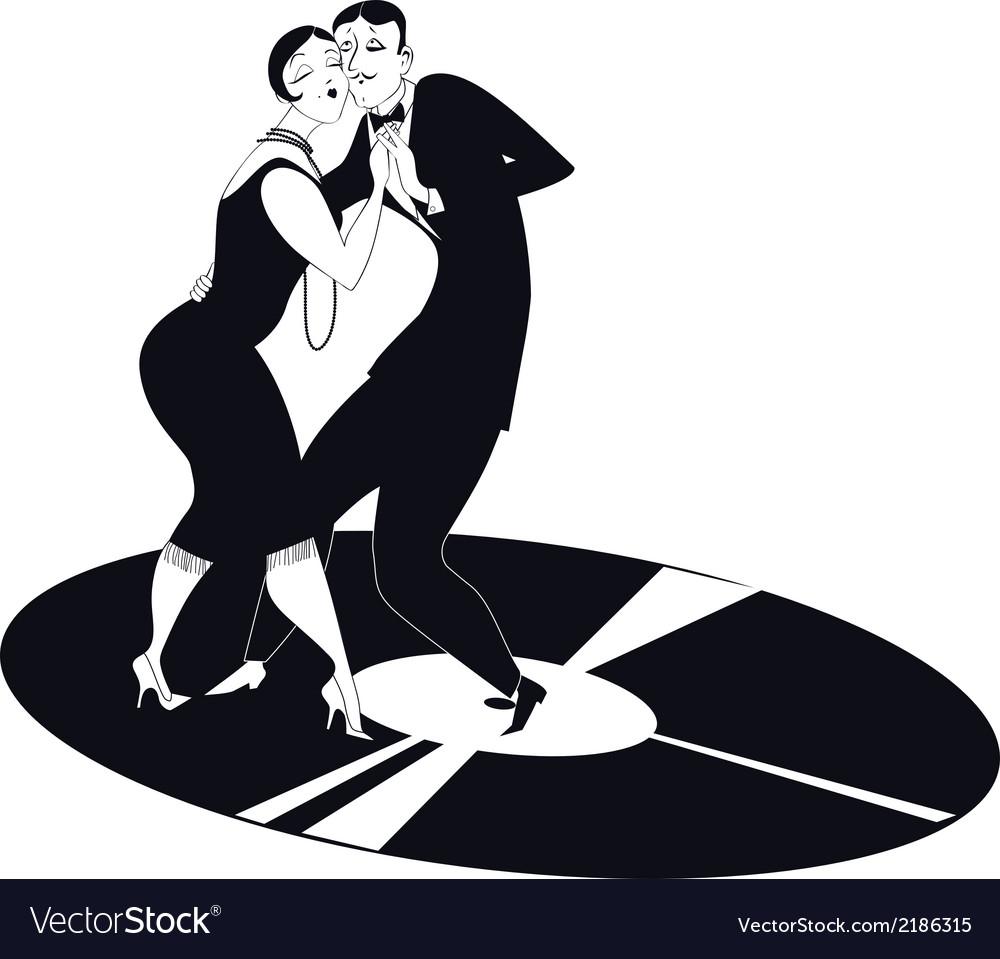 Couple dancing tango on a vinyl record vector