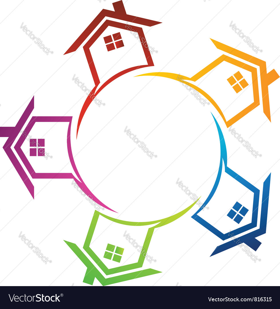 Group of real estate houses vector