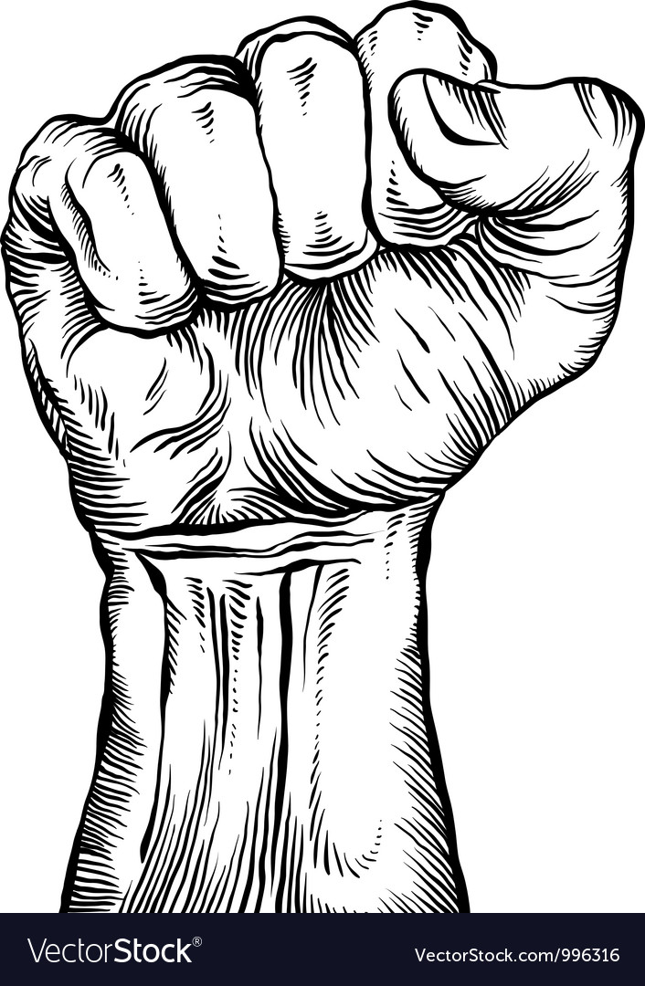 A clenched fist held high in protest vector