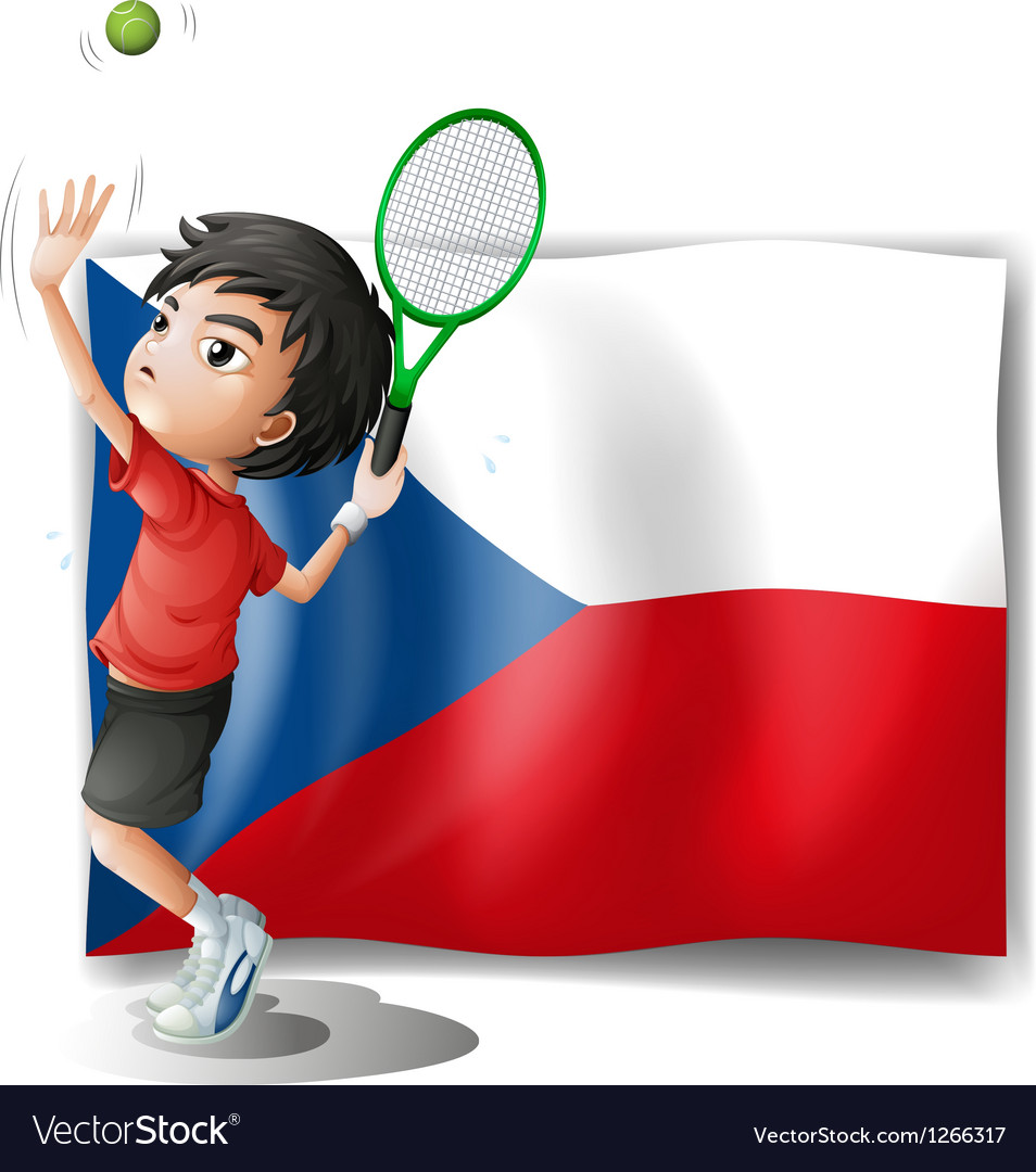 The flag of czech republic and the tennis player vector
