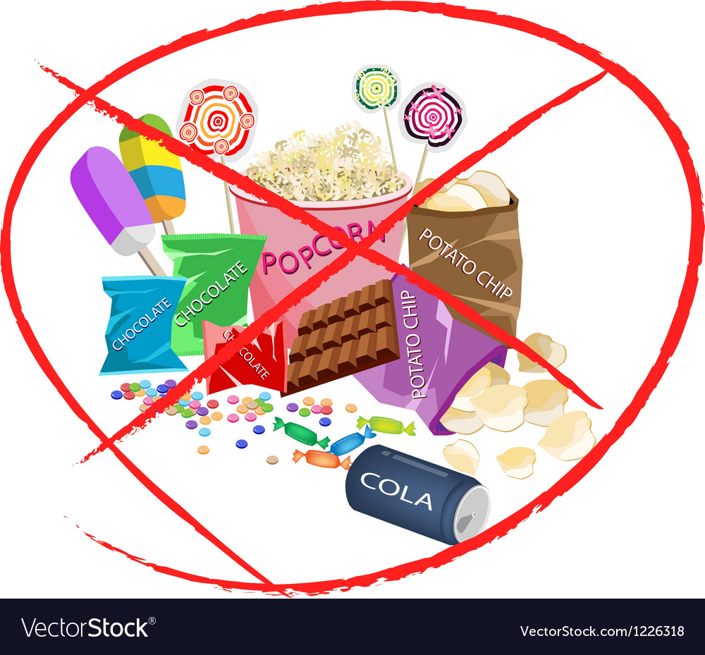 No eat sweet drinks and sweet snack vector