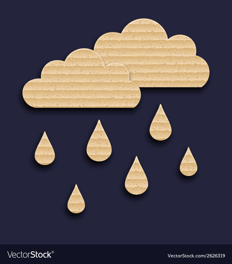 Paper clouds with rain drops carton texture vector