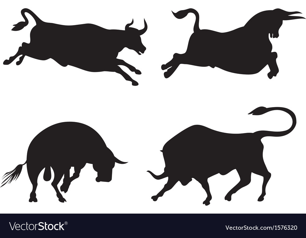 Cattle silhouettes vector