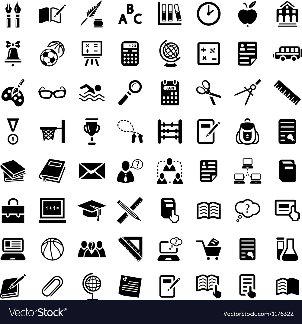 Big school icon set vector