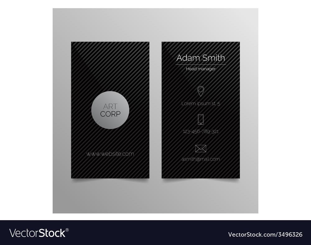 Business card template - dark sleek design vector