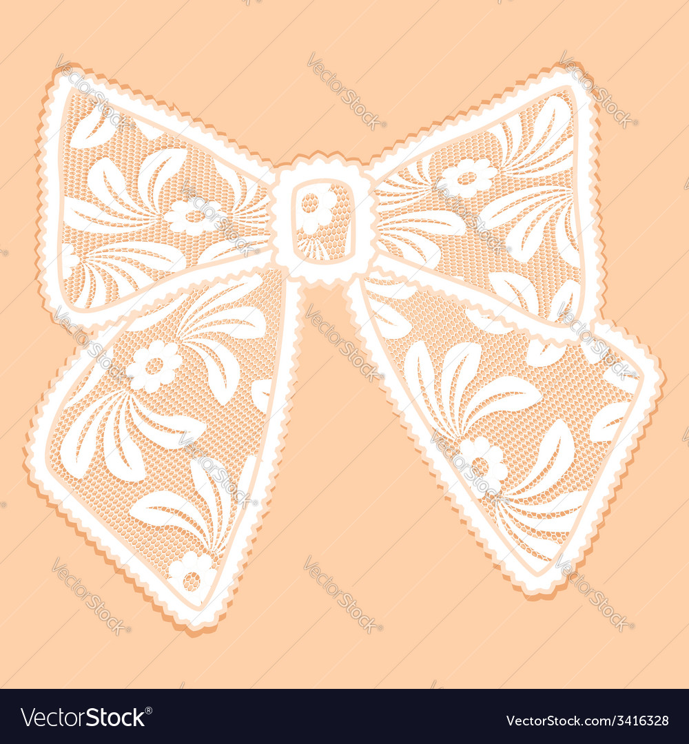 Decorative white lacy bow vector