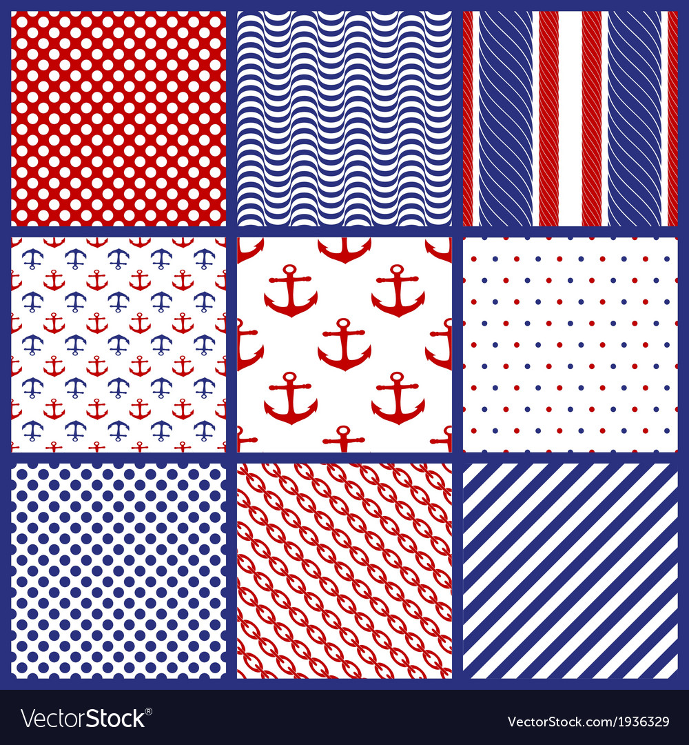 Set of geometric patterns in marine style vector