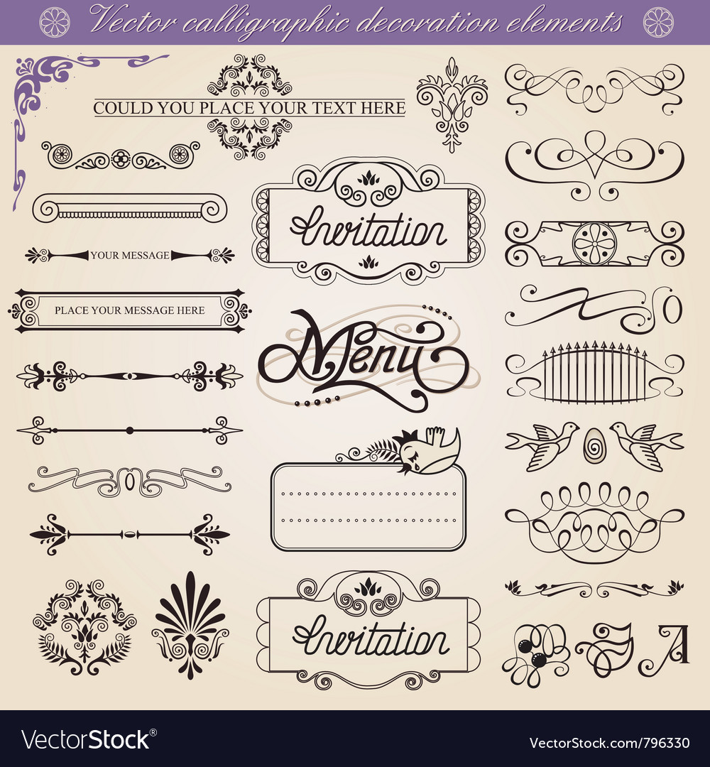 Calligraphic decoration elements set vector