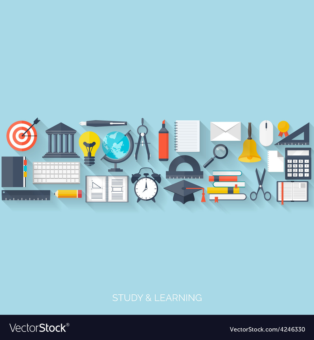 Flat concept education background back to school vector