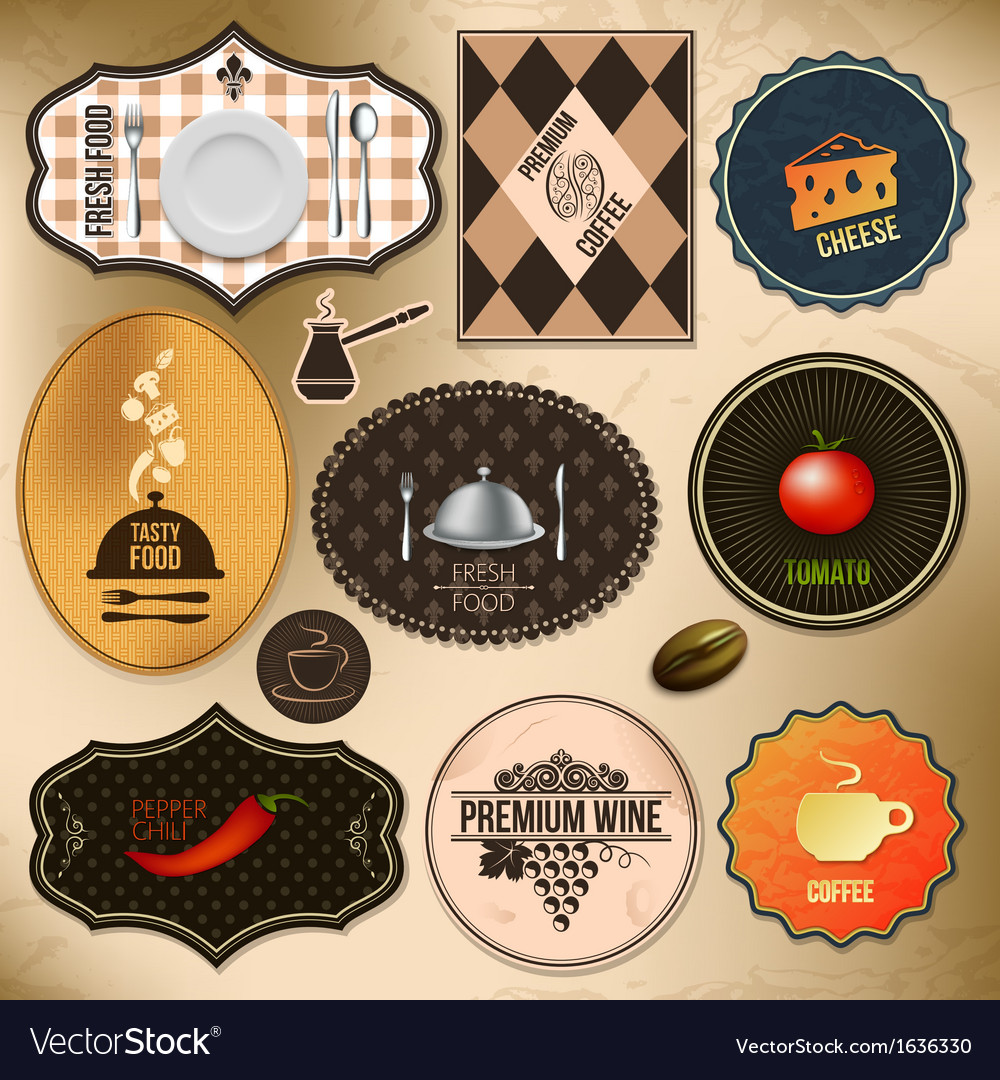 Food drink labels vector