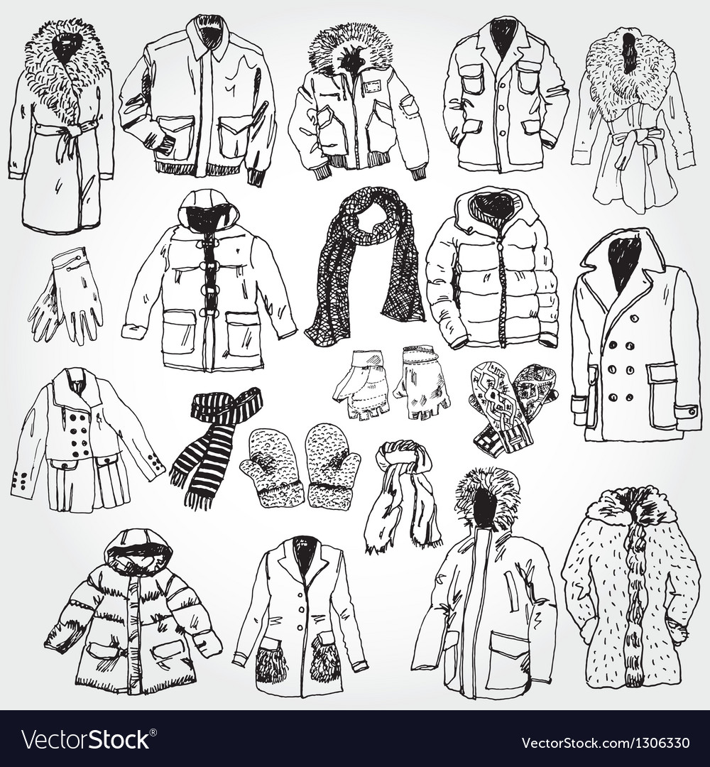 Winter clothes vector
