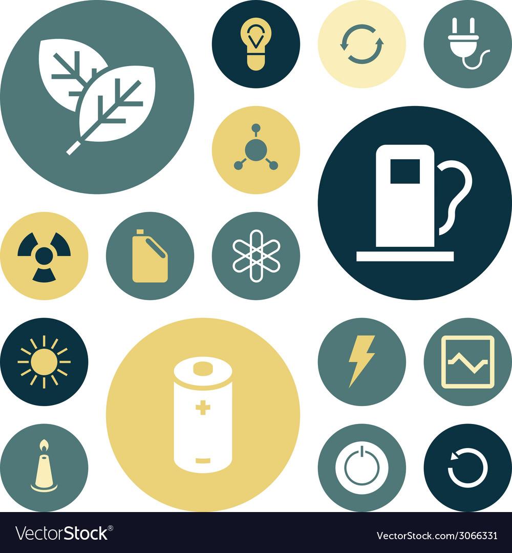 Icons plain round energy vector