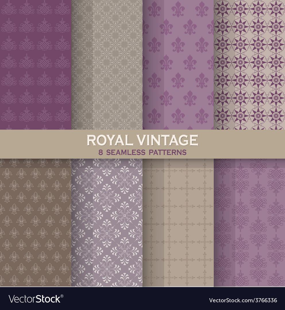 8 seamless patterns - royal vintage set vector