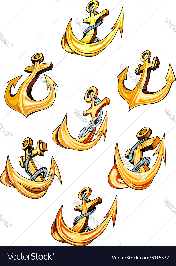 Swirling gold ships anchors vector