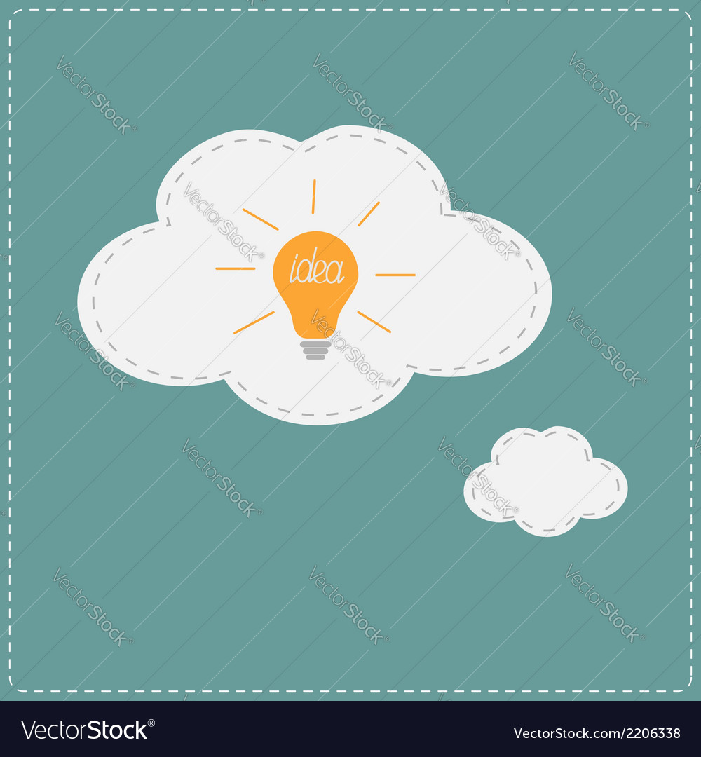 Idea light bulb in thought bubble cloud flat vector