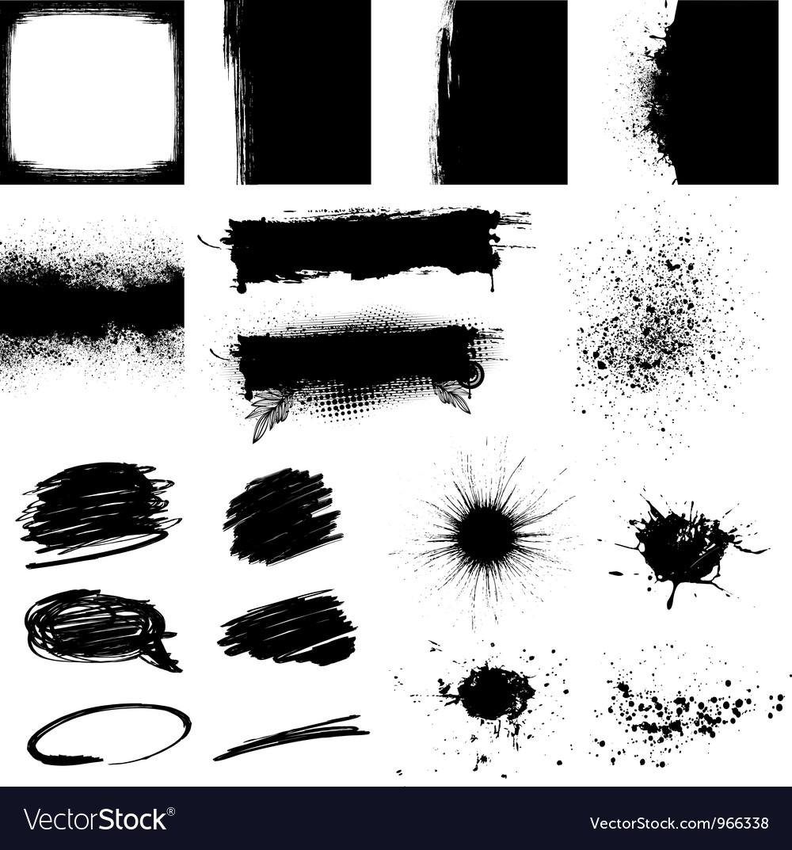 Set black grunge design element vector