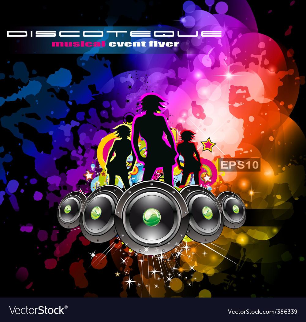 Disco flyer girls vector