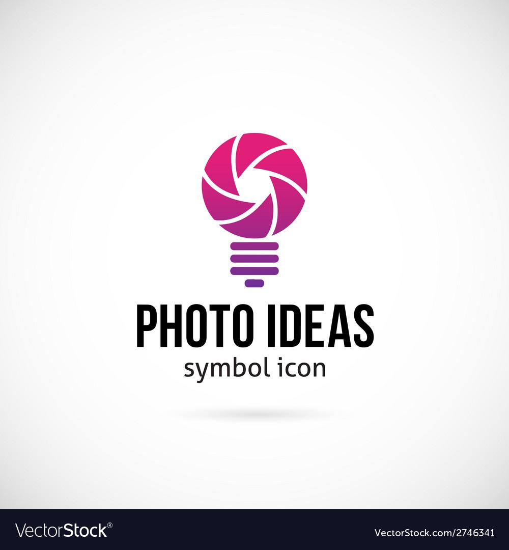 Photo ideas concept symbol icon or logo template vector