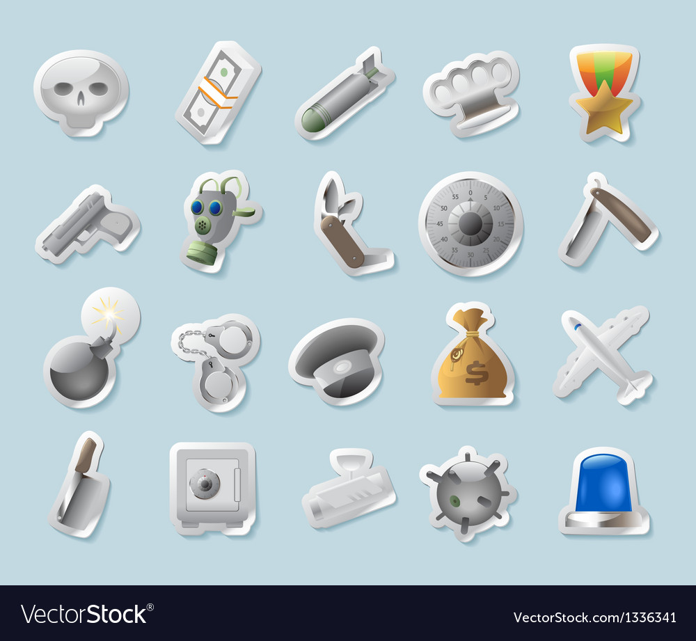 Sticker icons for military and crime vector