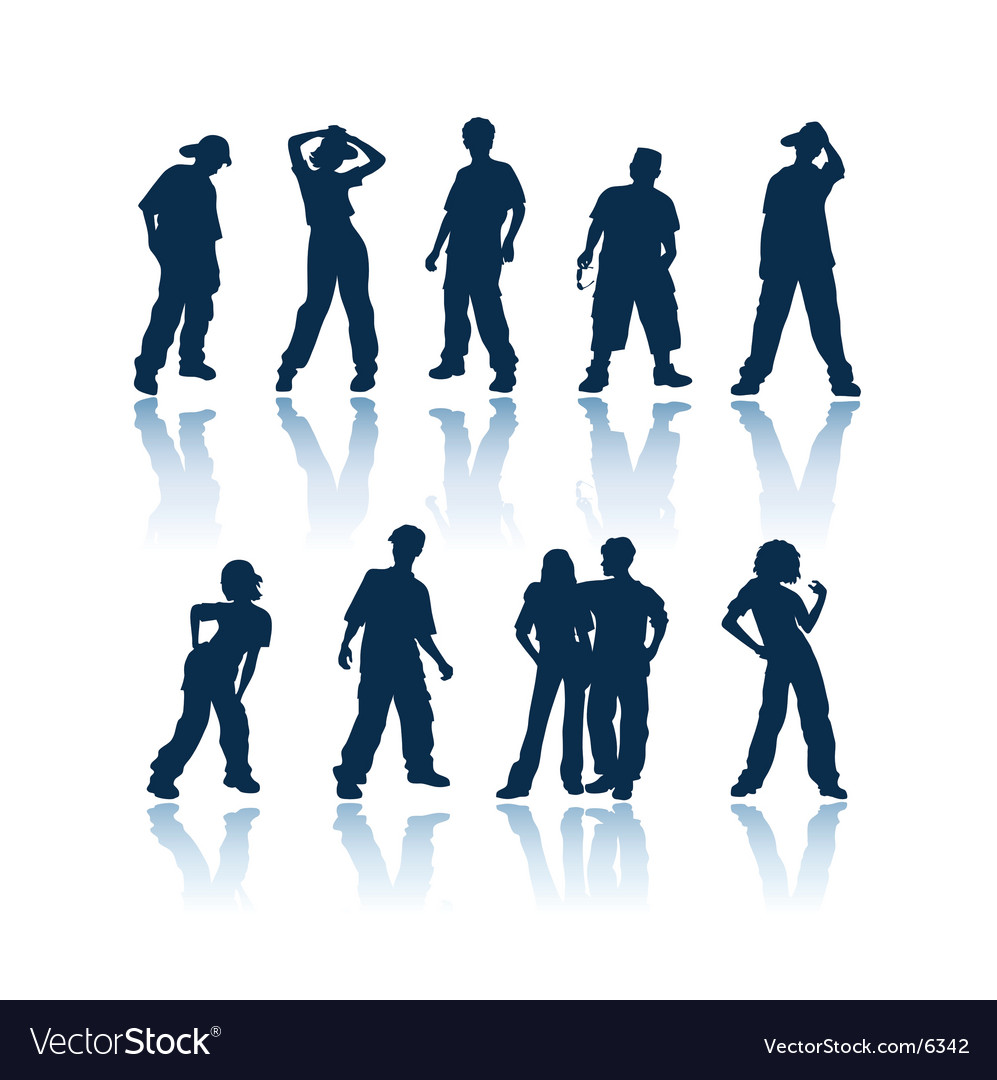Teenagers silhouettes vector