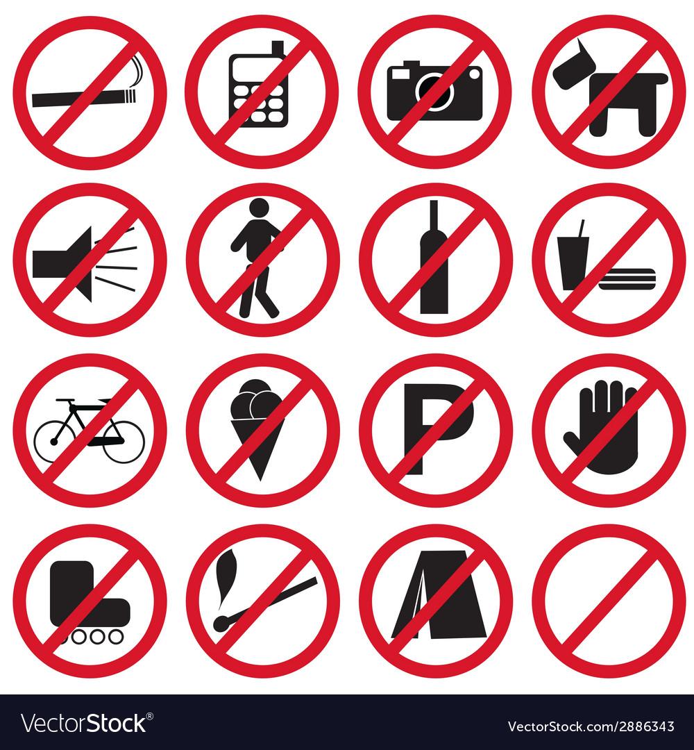 Forbidden icons set vector