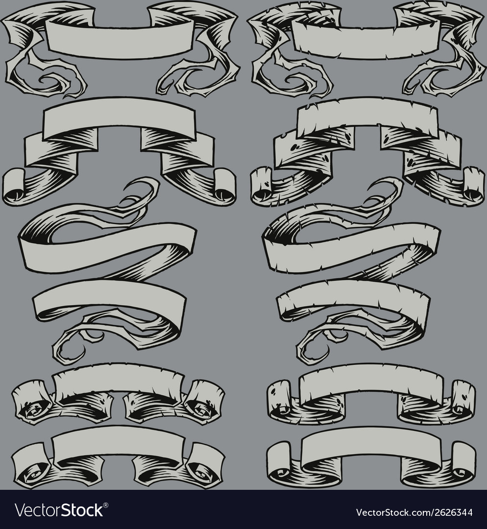Ribbons and damaged ribbons vector