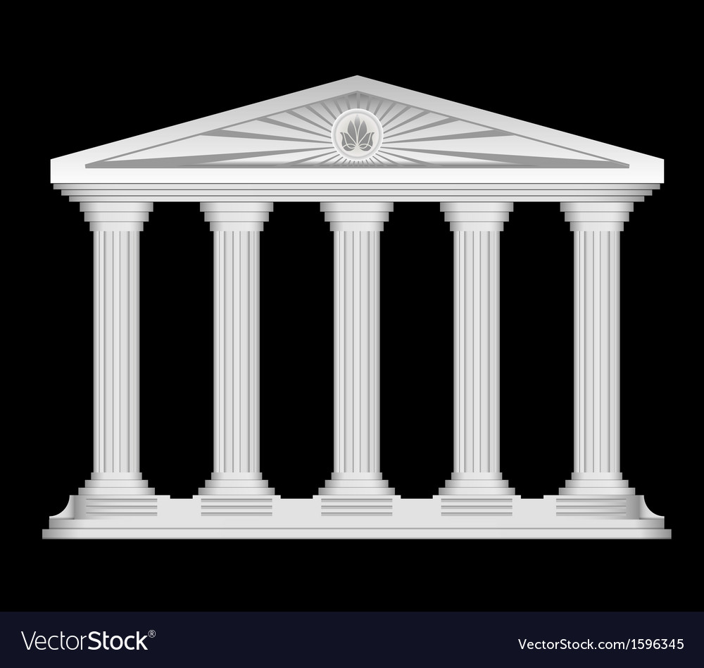 Antique roman temple stylized background vector