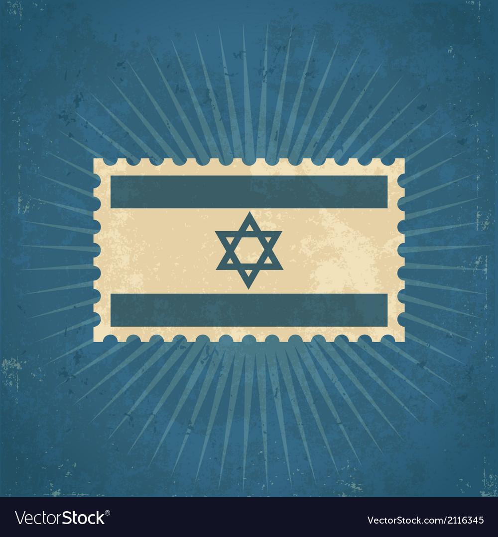 Retro israel flag postage stamp vector