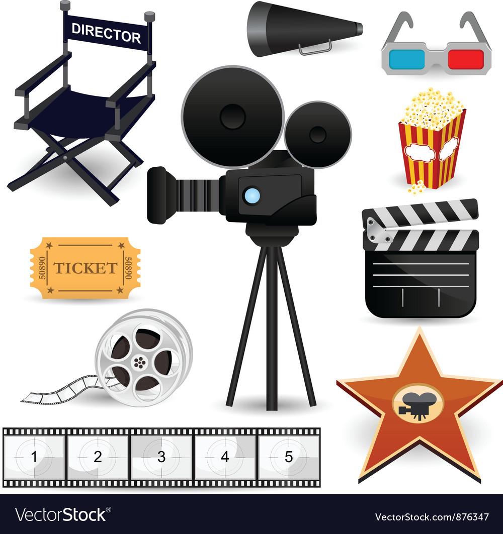 Cinema movie icons vector