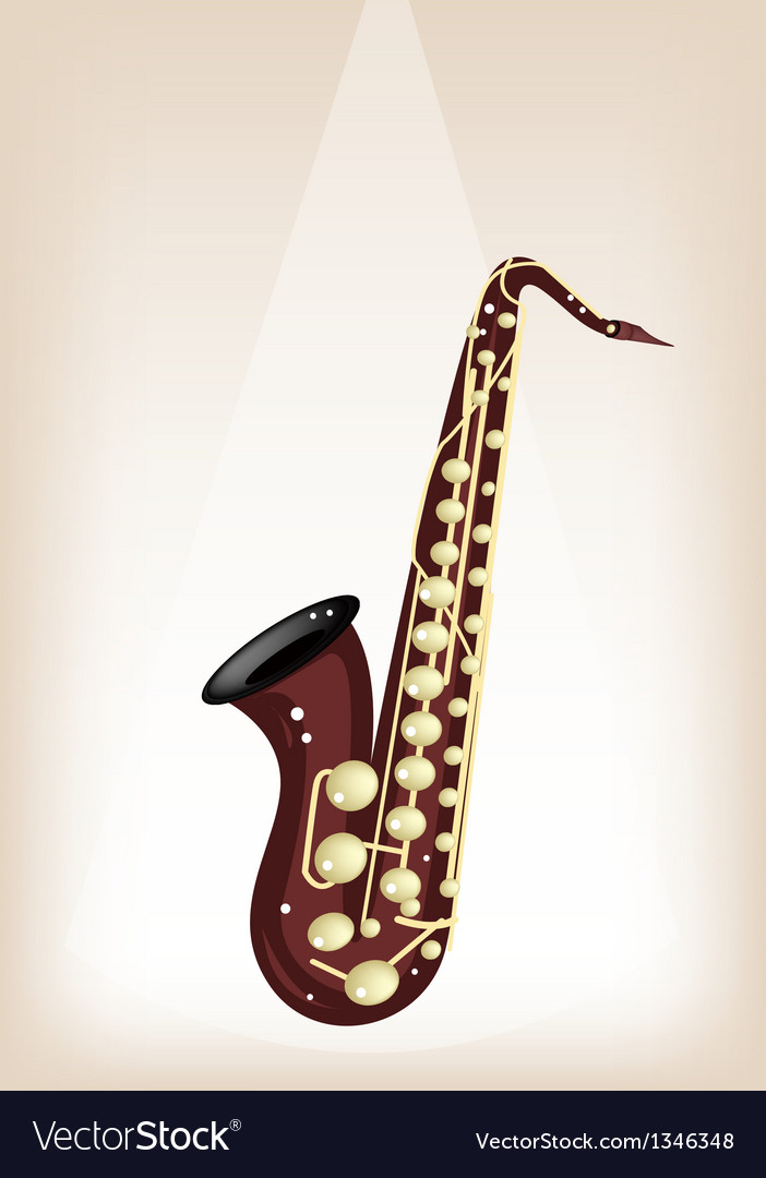 Musical tenor saxophone on brown stage background vector