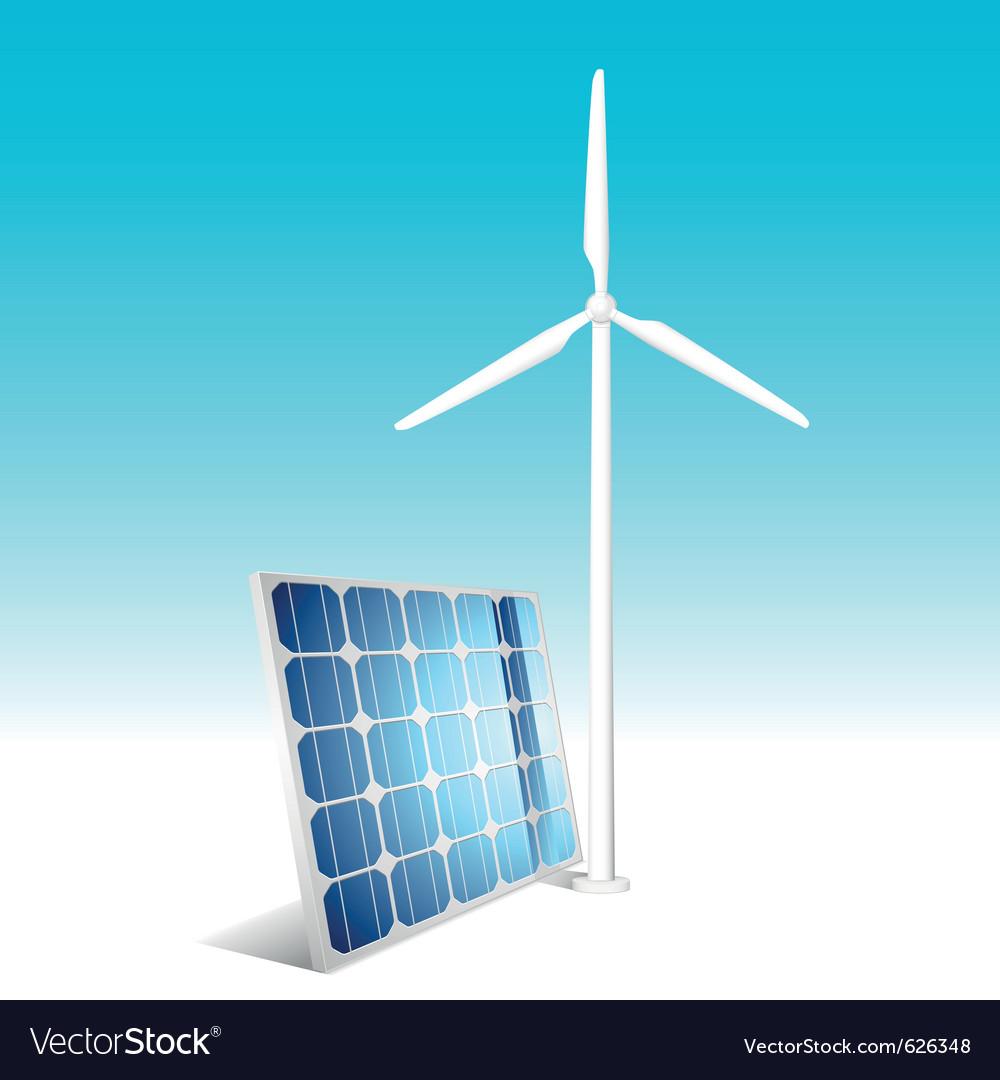 Solar panel and wind generator vector