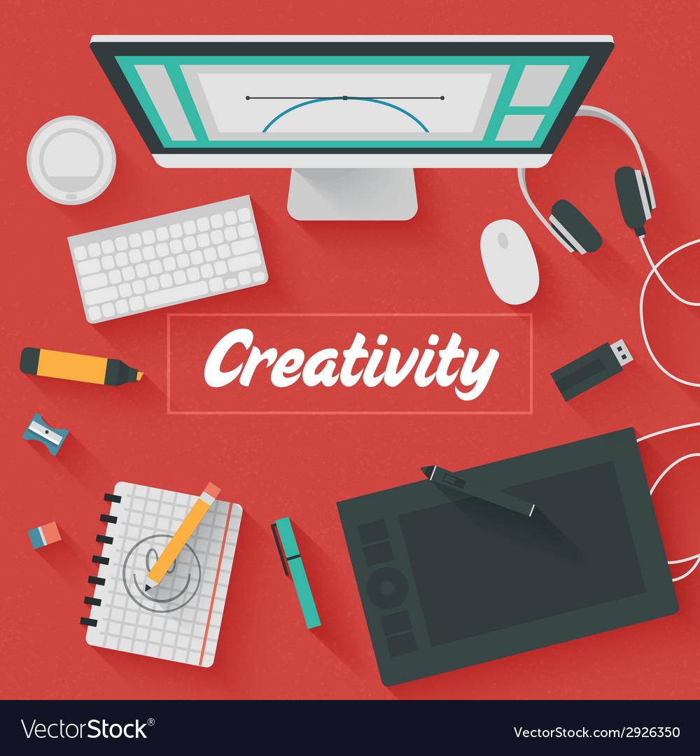 Trendy flat design creativity vector