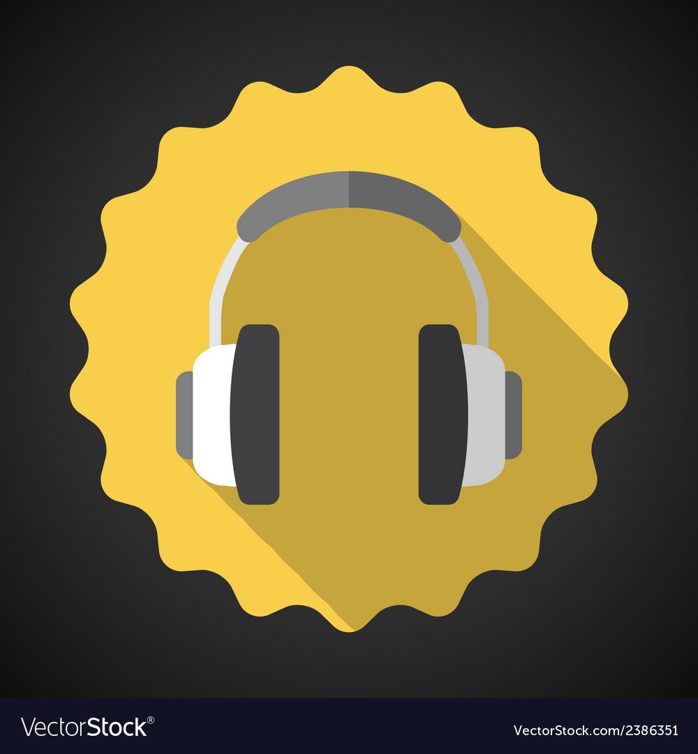 Music headphones earphones flat icon vector