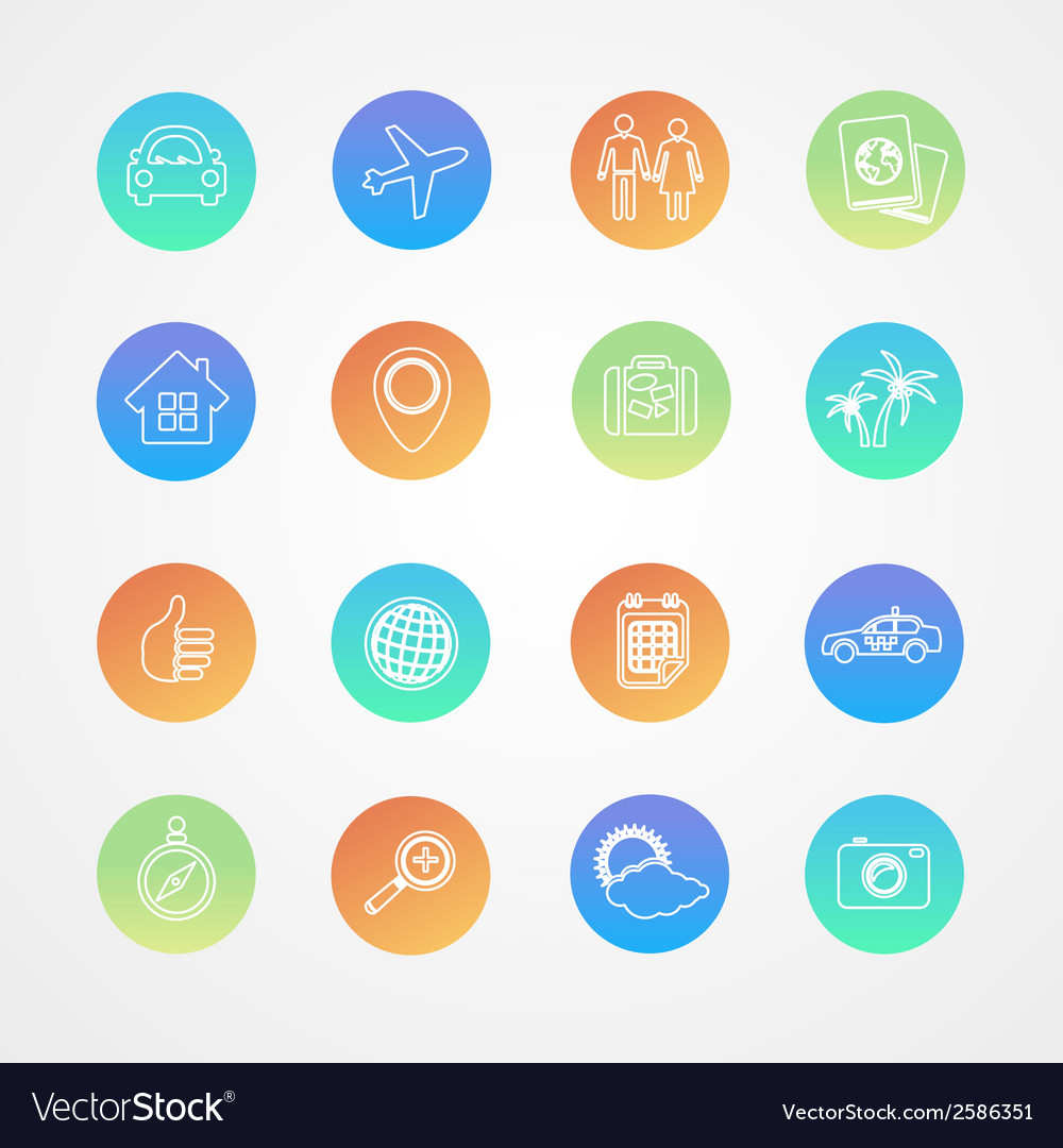 Travel outline icon set vector