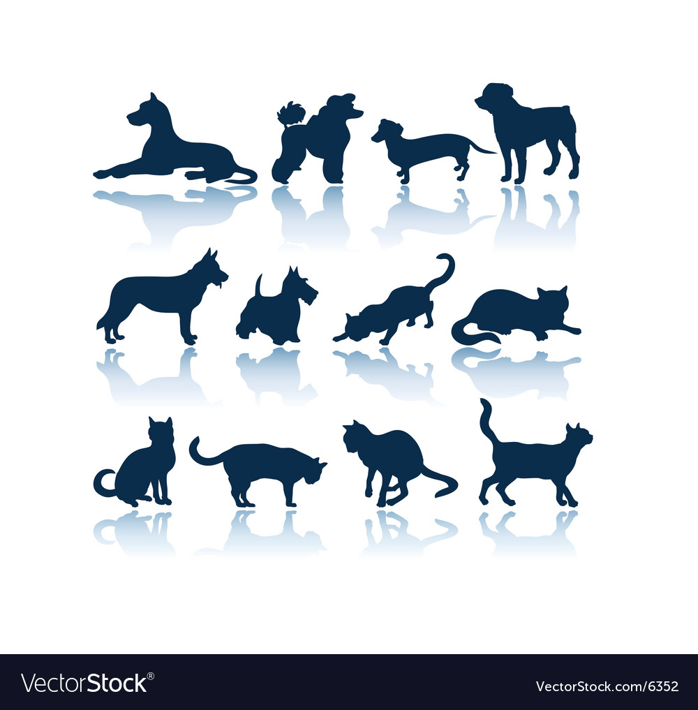Dogs and cats silhouettes vector