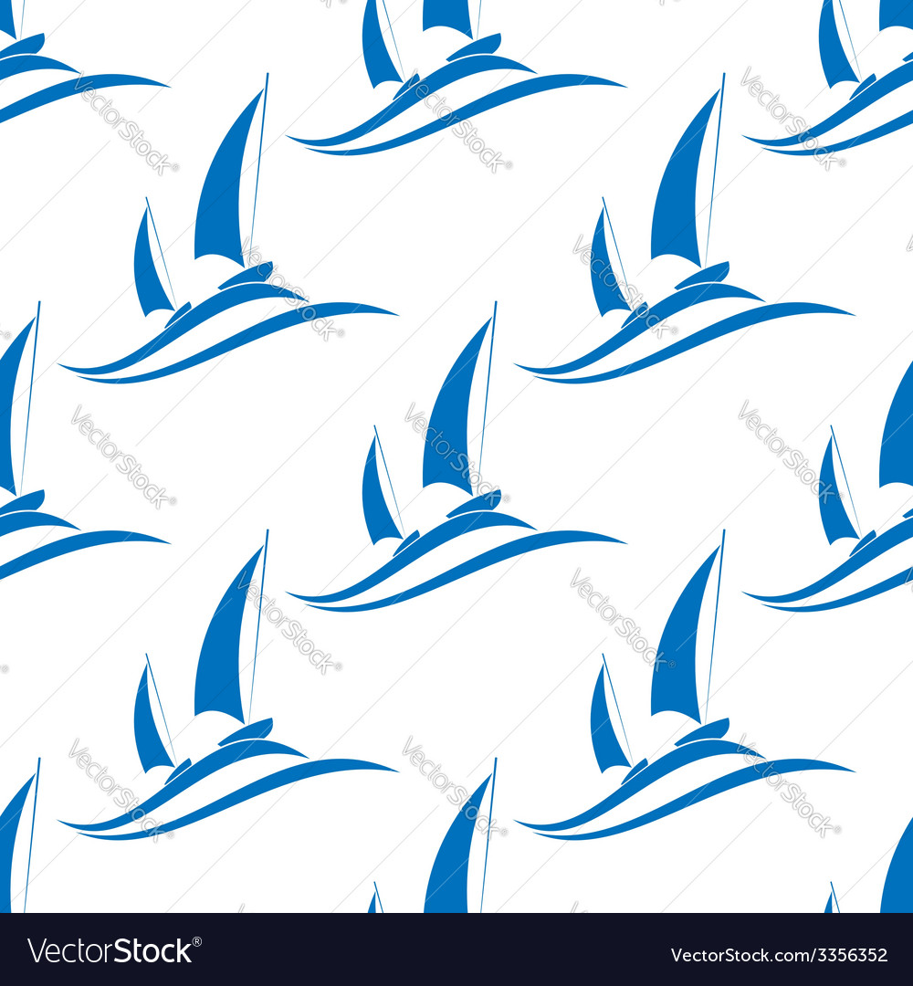 Yachting seamless pattern with blue boats vector