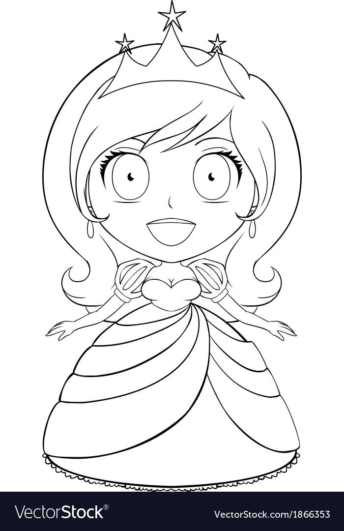 Princess coloring page 1 vector