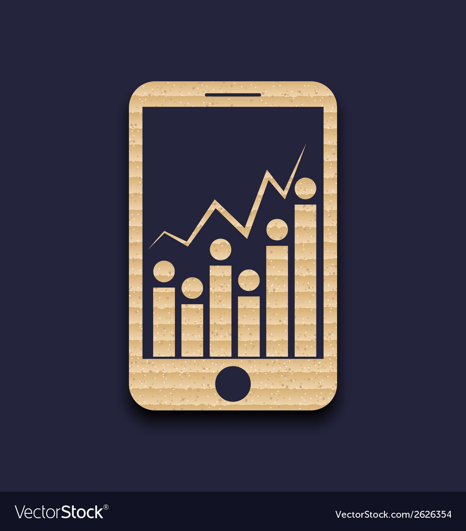 Paper mobile phone with abstract infographic chart vector