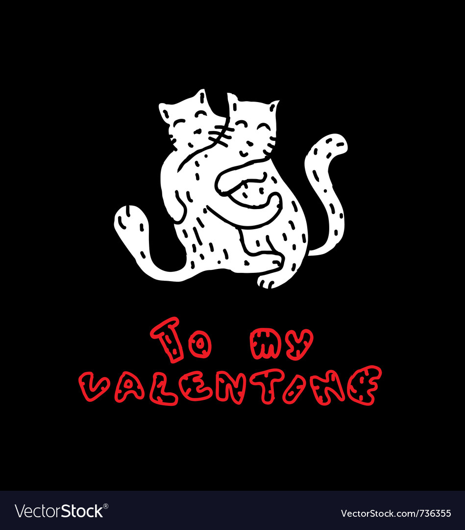 Hand drawn cats in love vector