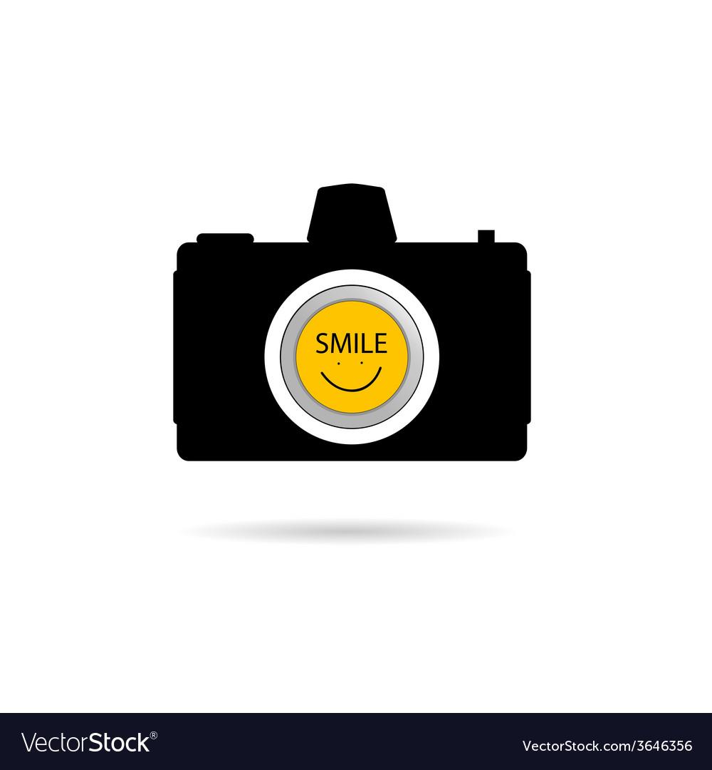 Camera icon with smile symbol vector