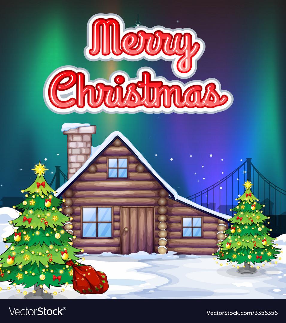 Christmas card in snow vector