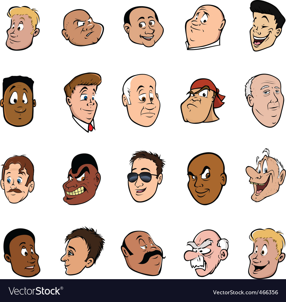 Male faces vector