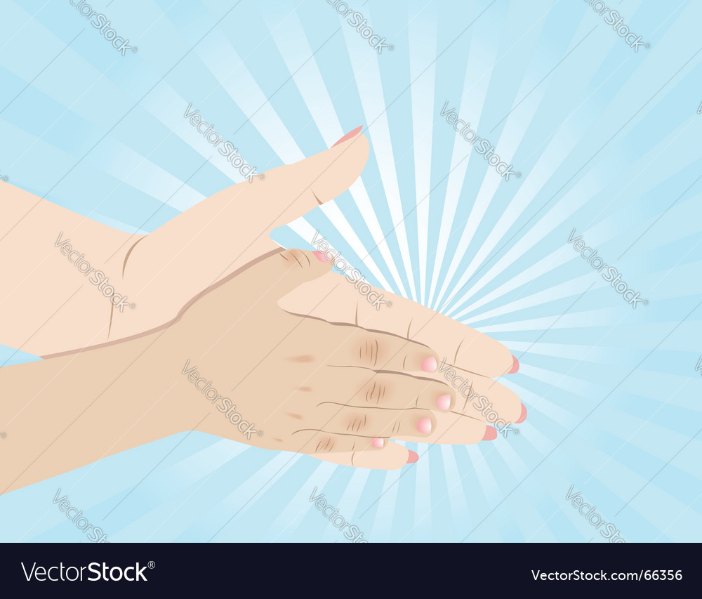 Mum and child hands vector