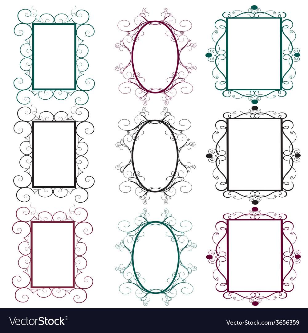 Vintage frames in diferents colors vector