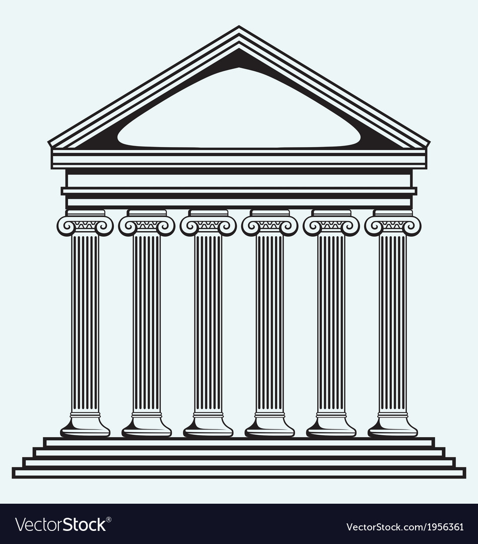 Portico an ancient temple bank colonnade vector