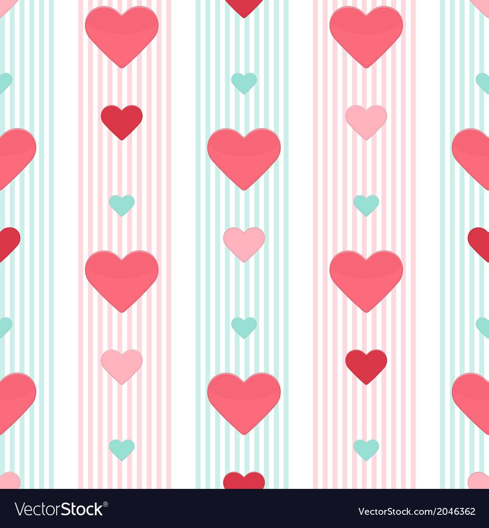 Seamless heart pink blue stripped pattern vector